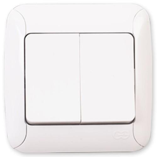 Διακόπτης διπλός κομμυτατέρ - Λευκό Καλωδίων Onetrade