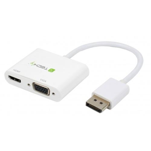 Techly ICOC DSP-VH1220 - DisplayPort 1.2 to HDMI/VGA 4K Προσαρμογέας Converters HDMI / ΗΧΟΥ Onetrade